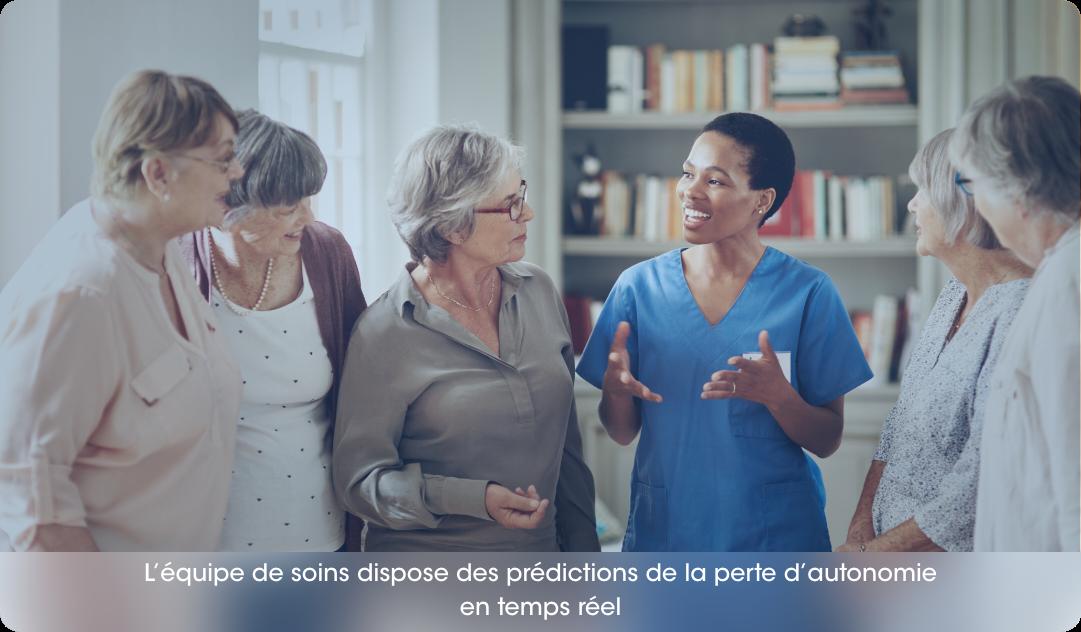 L'équipe de soins dispose des prédictions de la perte d'autonomie en temps réel » (on retire « des caractéristiques